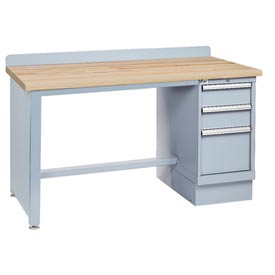 Technical Workbench w/Tech Leg, 3 Drawer Cabinet, Butcher Block Top - Gray