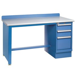Technical Workbench w/Tech Leg, 3 Drawer Cabinet, Plastic Laminate Top - Blue