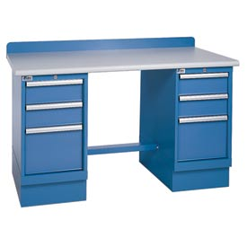 Technical Workbench w/3 Drawer Cabinets, Plastic Laminate Top - Blue