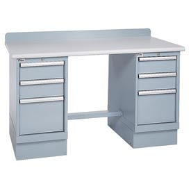 Technical Workbench w/3 Drawer Cabinets, Plastic Laminate Top - Gray
