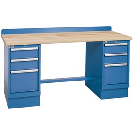 Technical Workbench w/3 Drawer Cabinets, Butcher Block Top - Blue