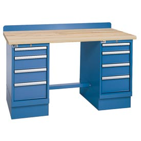 Technical Workbench w/4 Drawer Cabinets, Butcher Block Top - Blue