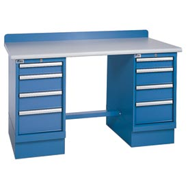 Technical Workbench w/4 Drawer Cabinets, Plastic Laminate Top - Blue