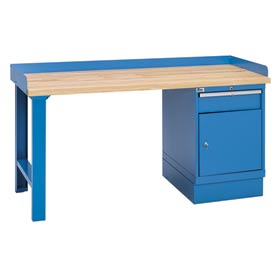 Industrial Workbench w/Leg, 1 Drawer Cabinet w/Shelf, Butcher Block Top - Blue