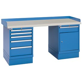 Industrial Workbench w/5 and 1 Drawer Cabinets, Plastic Laminate Top - Blue