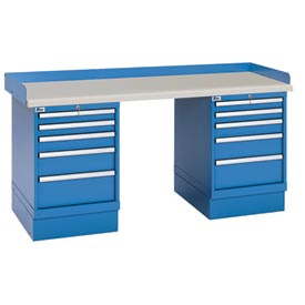 Industrial Workbench w/5 Drawer Cabinets, Plastic Laminate Top - Blue