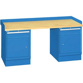 72x30x35.25 (2) Cabinet workstation w/2 drawers, back & end stops/butcher block top