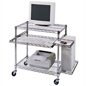 "Luxor Chrome Wire Mobile Computer Workstation, 29-1/2""W x 18""D x 42""H"