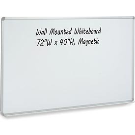 Magnetic Dry Erase White Board - 72 x 40 - Steel Surface - Aluminum Frame