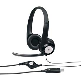 Logitech USB Headset, 981000014, Noise Cancelling Mic, 8' Cord, Black/Silver