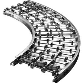 "Ashland 90 Degree Curve Galvanized Steel Skatewheel Conveyor - 18"" OAW - 16 WPF - 36"" Inside Radius"