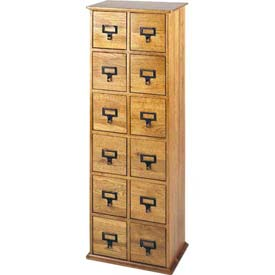 Library Style Multimedia File Drawer Cabinet Oak