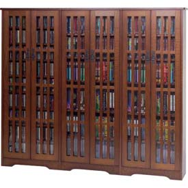 Mission Style Inlaid Glass Doors Multimedia Storage Cabinet Walnut, 1431 CDs
