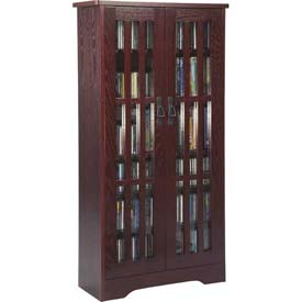 Mission Style Inlaid Glass Doors Multimedia Storage Cabinet Dark Cherry, 371 CDs