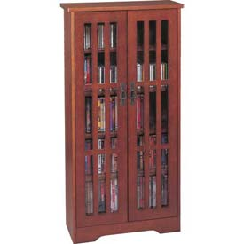 Mission Style Inlaid Glass Doors Multimedia Storage Cabinet Walnut, 371 CDs