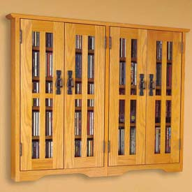 Wall Mounted Mission Style Glass Door Multimedia Storage Cabinet Oak, 380 CDs