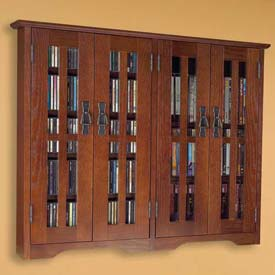 Wall Mounted Mission Style Glass Door Multimedia Storage Cabinet Walnut, 380 CDs