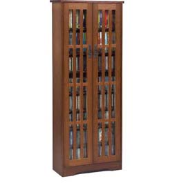 Mission Style Inlaid Glass Doors Multimedia Storage Cabinet Walnut, 477 CDs