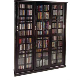 Mission Style Sliding Glass Door Multimedia Storage Cabinet Espresso, 1050 CDs