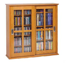 Wall Mounted Sliding Glass Door Multimedia Storage Cabinet Oak, 350 CDs