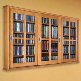 Wall Mounted Sliding Glass Door Multimedia Storage Cabinet Oak, 525 CDs