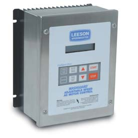 Leeson Motors AC Controls Washdown Duty Micro Series Drive VFD,NEMA 4X,1PH,1/2HP,120/240V