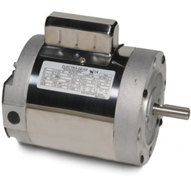 Leeson 6439191260, 1/2 HP, 1800 RPM, 1-Phase, 115/230V, 60 Hz, 56C, TENV, C-Face Footless,15 Min.