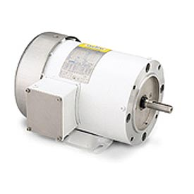 Leeson Motors Motor Washdown Motor-1HP, 208-230/460V, 1745RPM, TEFC, RIGID C, 1.15 SF, 82.5 Eff.