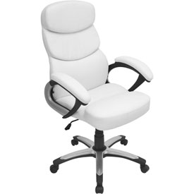 """Lumisource Doctorate Office Chair- 26-1/2""""L x 27""""W x 42-1/2 - 46""""H, White"""