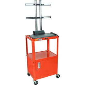 Luxor Adjustable Height Flat Panel Cart w/ Locking Cabinet, Red