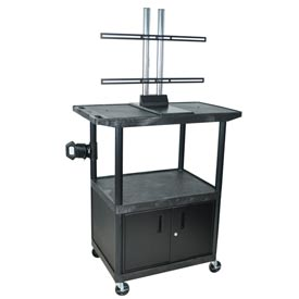 Mobile LCD Cart w/ Cabinet - 42x24x48-1/4 Black