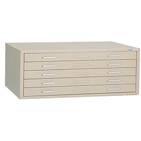 "Mayline® C-Files Five Drawer Stackable Steel File Cabinet for 24"" x 36"" Sheets Sand Beige"
