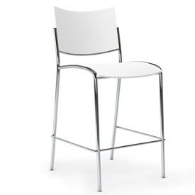 Mayline® Escalate Series Bistro Bar Height Stack Stool White 2 Pack