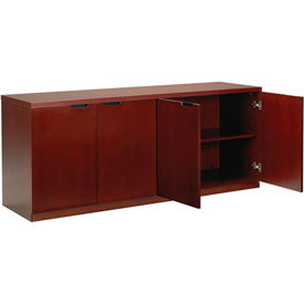 Mayline Luminary Series Hinged Door Credenza with 4-Door Hinged Credenza Cherry by