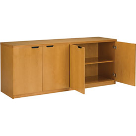 Mayline Luminary Series Hinged Door Credenza with 4-Door Hinged Credenza Maple by