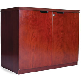 Mayline Luminary Series Hinged Door Credenza with 2-Door Hinged Credenza Cherry by
