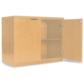 Mayline Luminary Series Hinged Door Credenza with 2-Door Hinged Credenza Maple by