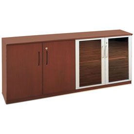 Mayline® Corsica Series Low Wall Cabinet with Wood/Glass Door Sierra Cherry