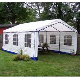 14'W x 14'L x 9'H Party Tent, White With Blue Trim