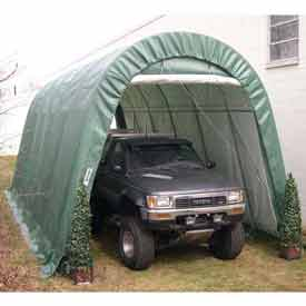 Green 14'W x 30'L x 12'H Round Portable Shelter