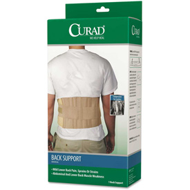 """Curad® Elastic Back Support, 33""""- 48"""" Waist Size, 33""""W x 48""""D x 10""""H, 6 Stays, Beige"""