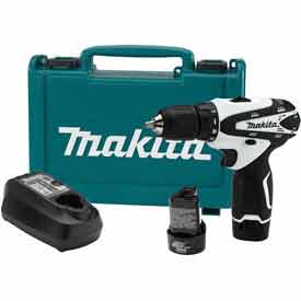 "Makita Cordless Driver-Drill Kit, FD02W, 12V Max Lithium-Ion, 3/8"", 2-Speed, Rev., L.E.D. Light by"