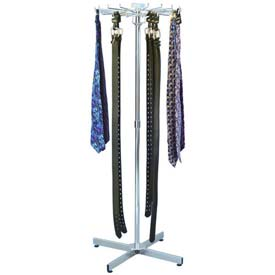 Marv-O-Lus 18 Hook Floor Belt/Tie Rack, 1 Step Design, Chrome, 1403X