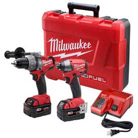 Milwaukee 2897-22 M18 FUEL Li-Ion Cordless Brushless Hammer Drill/Impact Driver 2-Tool Combo Kit by