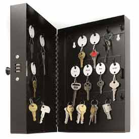 MMF STEELMASTER® 28-Key Steel Security Cabinet 201202804 with Combo Lock, Black