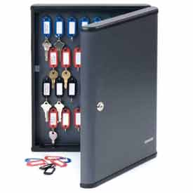 """MMF STEELMASTER® 60-Key Security Cabinet 2017260G2 - 12""""W x 2-3/8""""D x 14-3/4""""H, Charcoal Gray"""