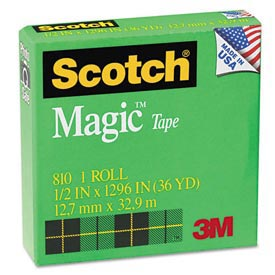 "Scotch® Magic Invisible Tape, 1/2"" x 1296"", 1"" Core, 1 Roll"