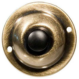 "Morris Products 78235, Round Pushbutton 1-3/4"" Solid Antique Brass"