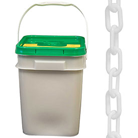 "Plastic Chain 1-1/2"" Links In A Pail White 300 Feet Trade Size 6 by"