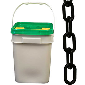 "Plastic Chain 1-1/2"" Links In A Pail Black 300 Feet Trade Size 6 by"